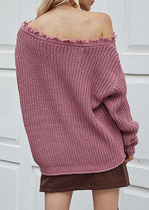 Tassel Edge Slash Neck Pullover Sweater - Light Purple