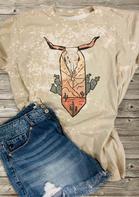 Steer Skull Cactus Bleached T-Shirt Tee - Light Khaki