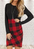 Plaid Splicing Ruched Long Sleeve Bodycon Dress