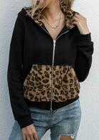 Leopard Pocket Zipper Double-Sided Fleece Hooded Coat