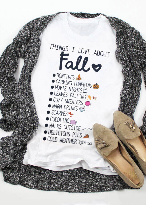 Fairyseason coupon: Things I Love About Fall Letter Graphic T-Shirt Tee - White
