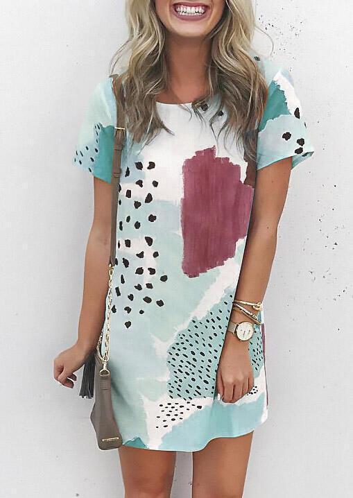 Leopard Splicing Color Block Mini Dress - Light Green