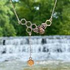 Creative Bee Rhinestone Honeycomb Pendant Necklace