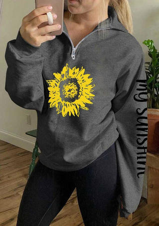 My Sunshine Sunflower Zipper Collar Sweatshirt - Gray