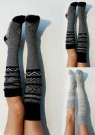 Geometric Knee-High Knitted Warm Socks