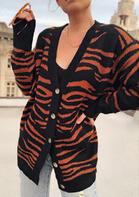 Zebra Button V-Neck Long Sleeve Cardigan