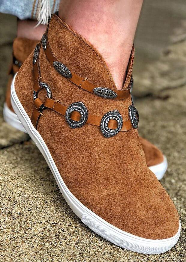 FairySeason / Button Slip On Round Toe Flat Sneakers - Brown