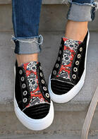 Halloween Skull Floral Slip On Canvas Sneakers