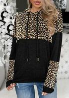 Leopard Color Block Splicing Drawstring Hoodie