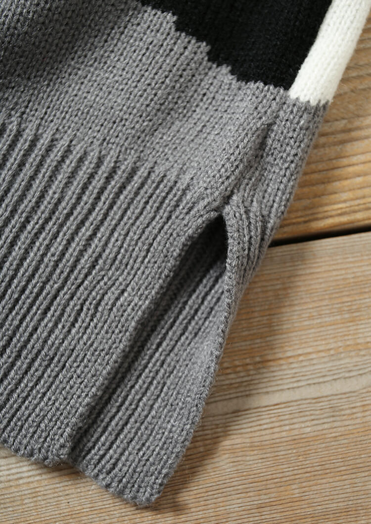 Color Block Slit Knitted Sweater - Gray