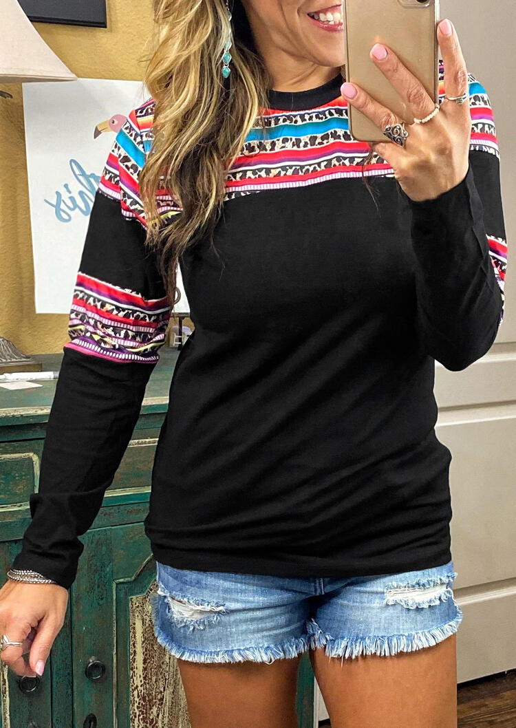 Serape Striped Leopard Splicing Long Sleeve Blouse - Black