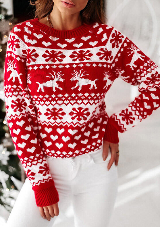 Christmas Reindeer Snowflake Heart Knitted Sweater - Red