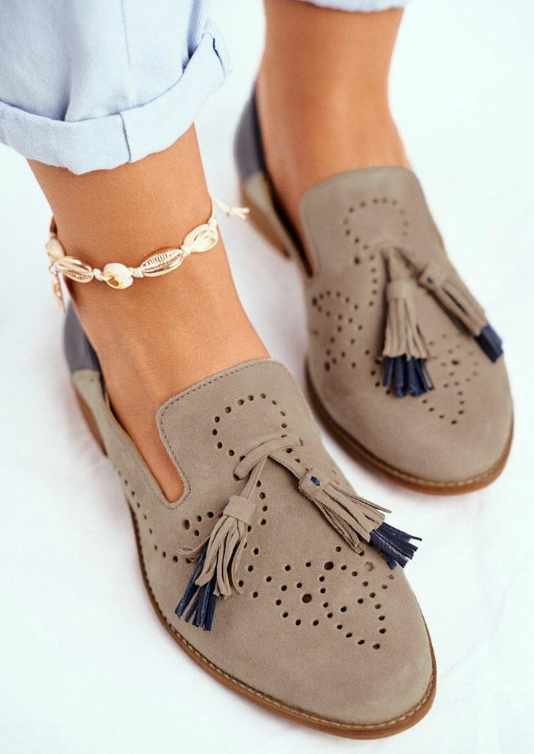 Hollow Out Tassel Slip On Round Toe Sneakers without Anklet