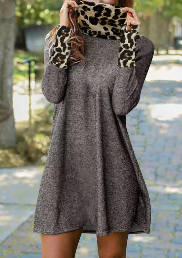 Leopard Splicing Turtleneck Mini Dress - Gray