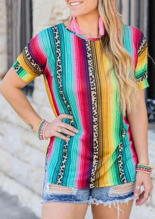 Serape Striped Leopard Splicing T-Shirt Tee