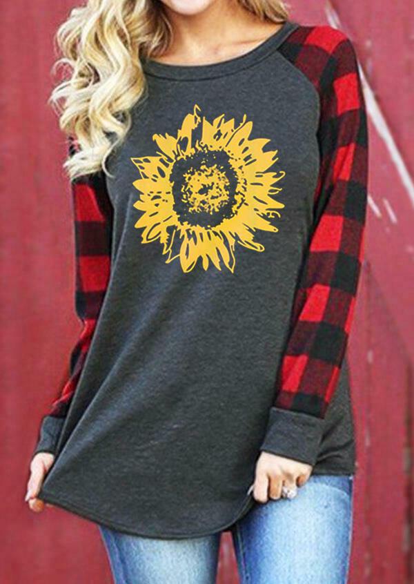FairySeason / Sunflower Plaid Raglan Sleeve T-Shirt Tee - Dark Grey