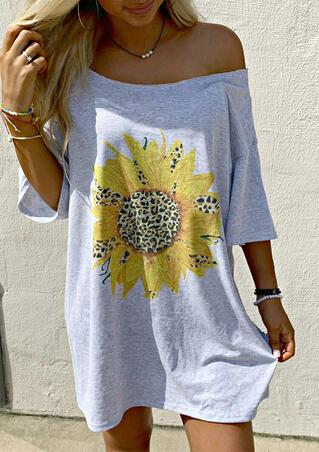 Leopard Sunflower Off Shoulder Mini Dress - Light Grey