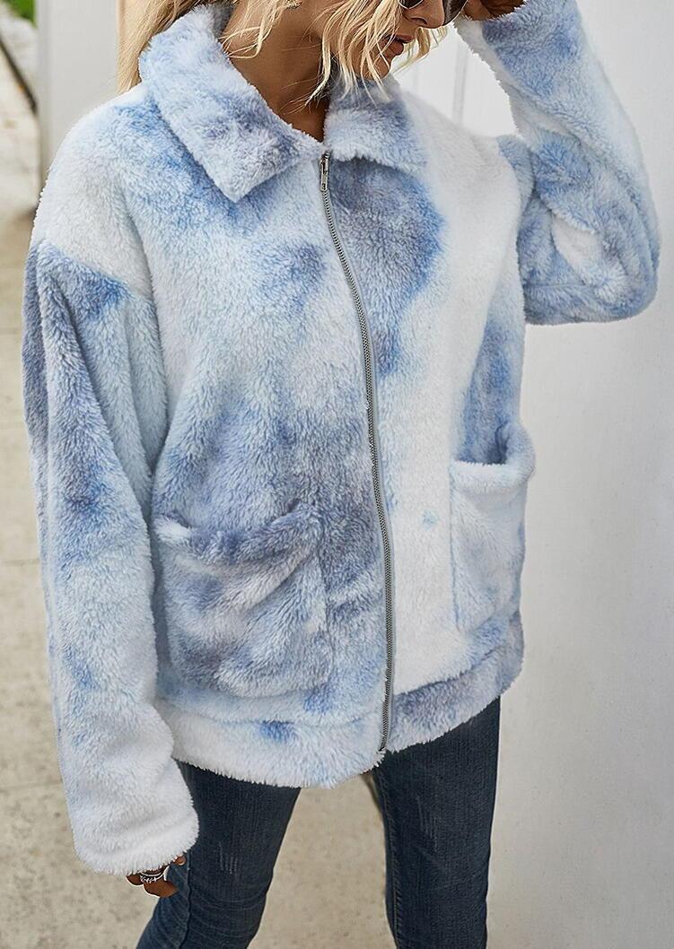 Tie Dye Pocket Zipper Drop Shoulder Fleece Coat