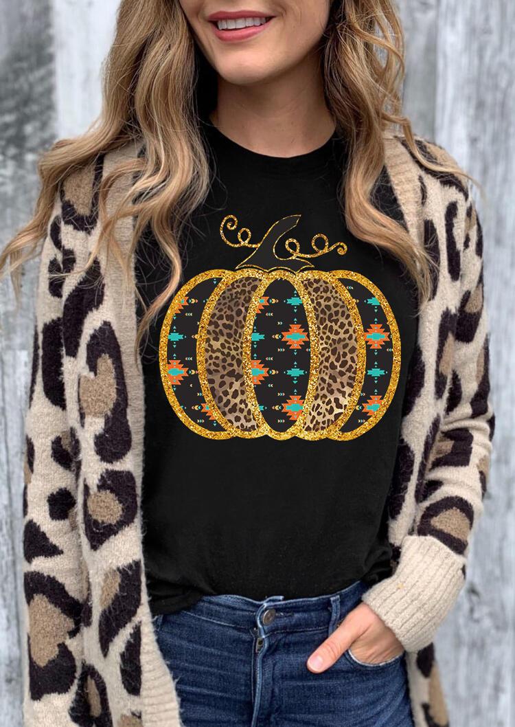 Leopard Aztec Geometric Pumpkin T-Shirt Tee - Black