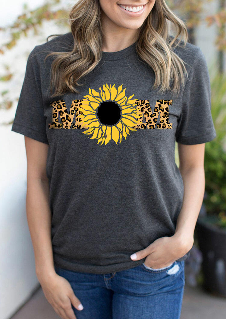 FairySeason / Leopard Sunflower Mom T-Shirt Tee - Dark Grey