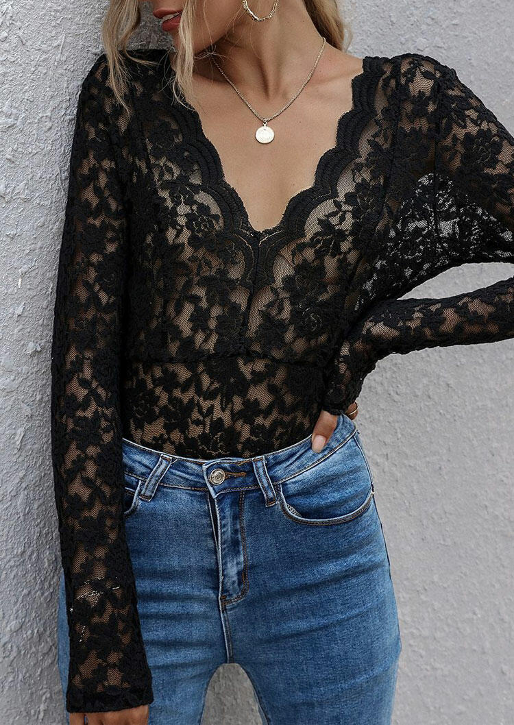 Lace Open Back Tie Deep V-Neck Blouse - Black