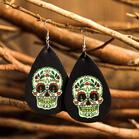Halloween Skull Glow Leather Water Drop Earrings