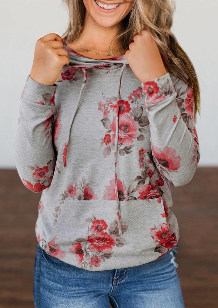Floral Kangaroo Pocket Pullover Hoodie - Gray