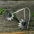 Vintage Creative Flower Emerald Alloy Earrings