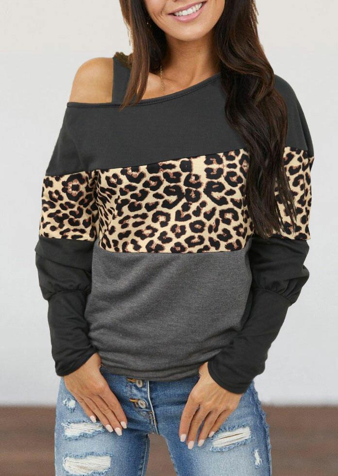 Fairyseason coupon: Leopard Splicing Cold Shoulder Blouse - Gray
