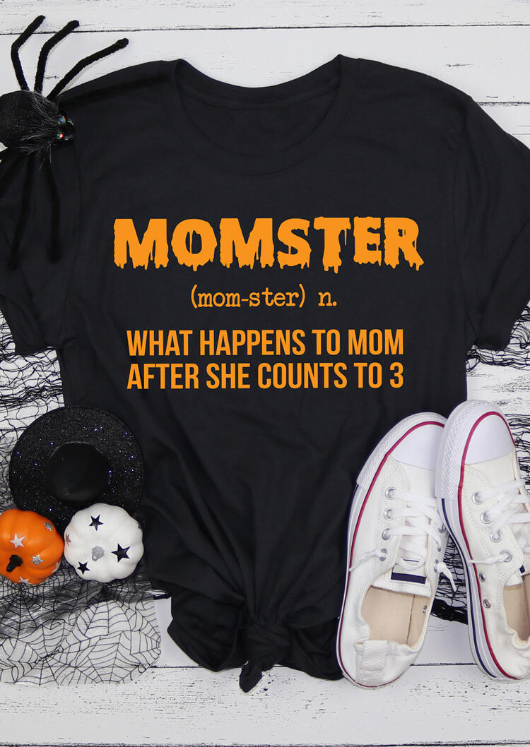 Fairyseason coupon: Halloween Momster Letter O-Neck T-Shirt Tee - Black