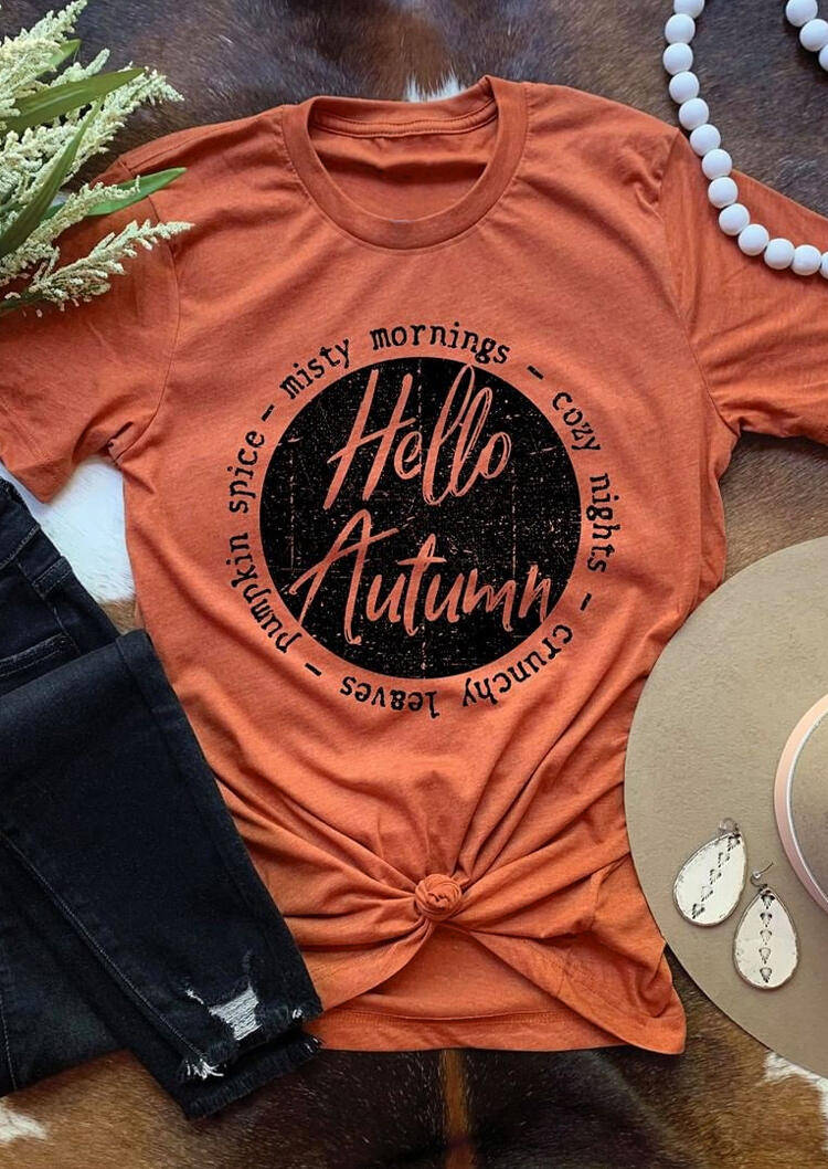 Thanksgiving Hello Autumu Pumpkin Graphic T-Shirt Tee - Orange