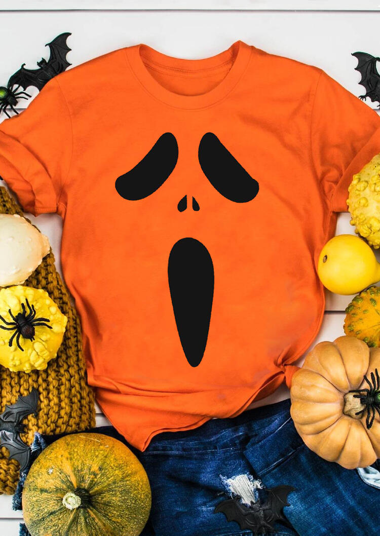Tees T-shirts Halloween Pumpkin Face Funny T-Shirt Tee in Orange. Size: S,M,L,XL фото