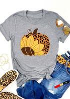 Sunflower Leopard Pumpkin O-Neck T-Shirt