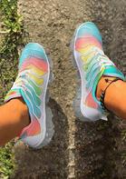 Tie Dye Rainbow Lace Up Transparent Platform Sneakers