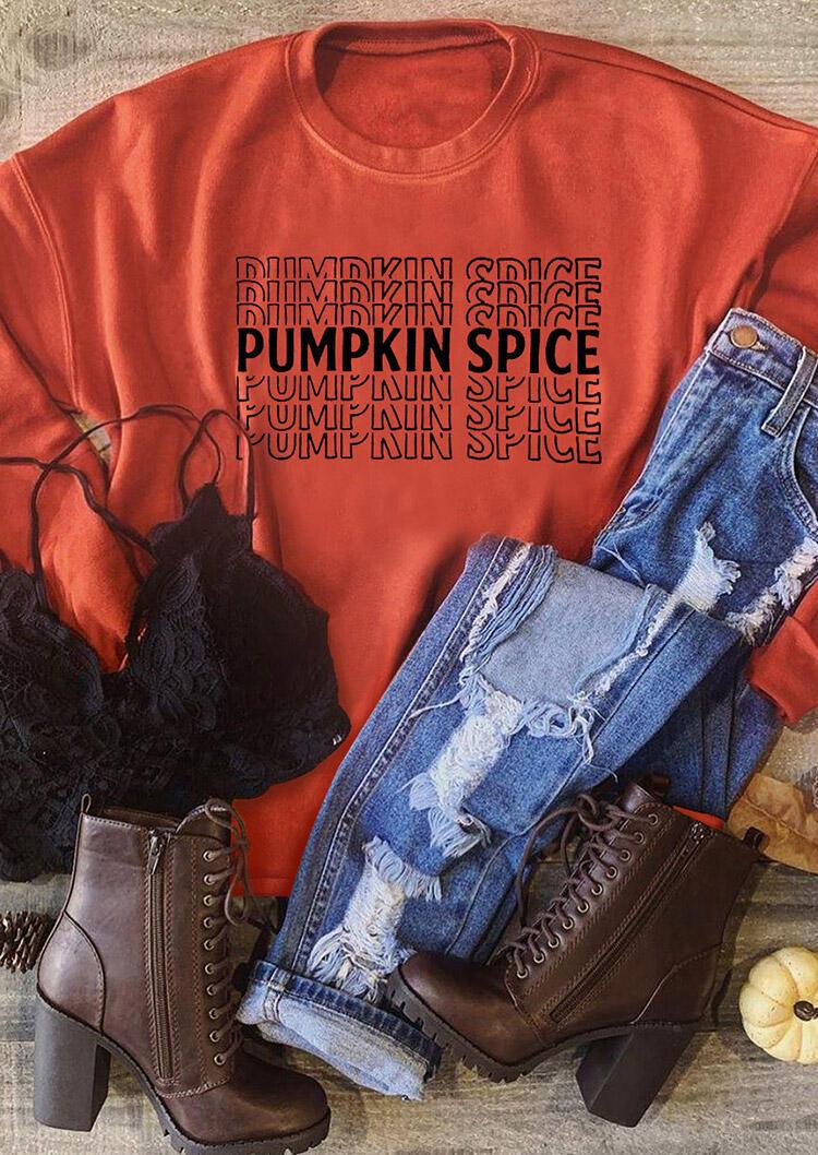 Fairyseason coupon: Pumpkin Spice Long Sleeve Sweatshirt - Orange