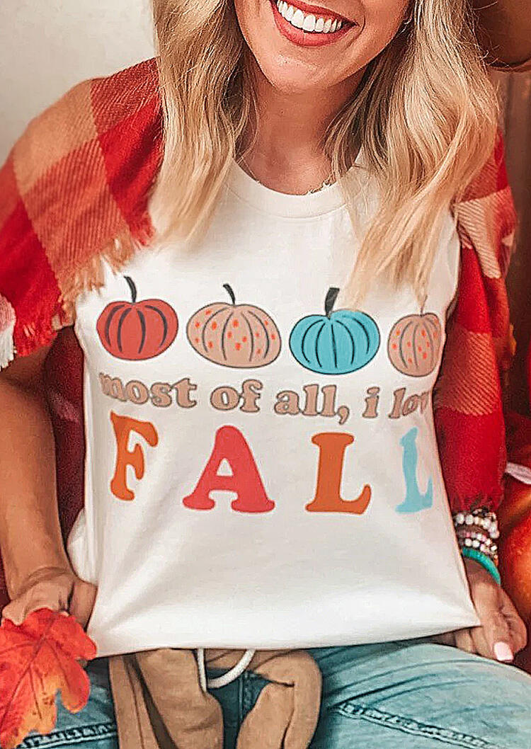 Thanksgiving Most Of All I Love Fall Pumpkin T-Shirt Tee - White