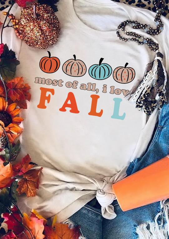 Thanksgiving Most Of All I Love Fall Pumpkin T-Shirt Tee - White