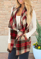 Plaid Pocket Sleeveless Asymmetric Lapel Cardigan