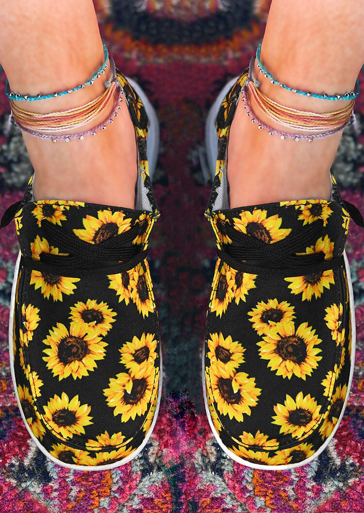 SunflowerLace Up Flat Canvas Sneakers