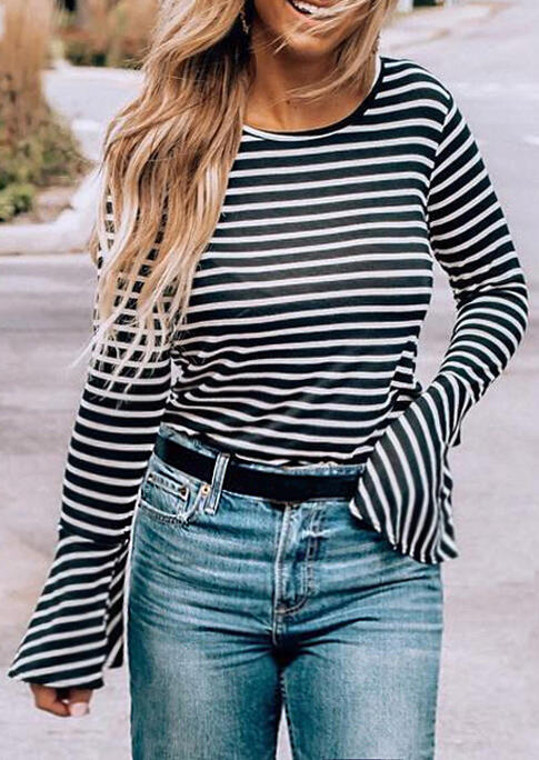 Striped Flare Sleeve Casual Blouse