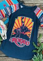 Rodeo Serape Striped Baseball T-Shirt