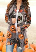 Halloween Pumpkin Black Cat Cardigan