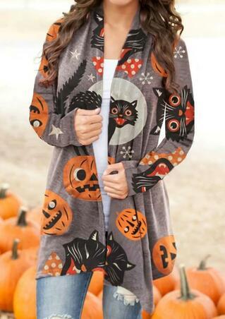 Halloween Pumpkin Black Cat Cardigan - Light Coffee