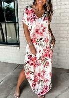 Floral Asymmetric Slit Maxi Dress