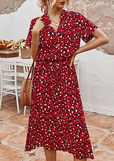 Leopard Button Drawstring V-Neck Casual Dress - Red фото