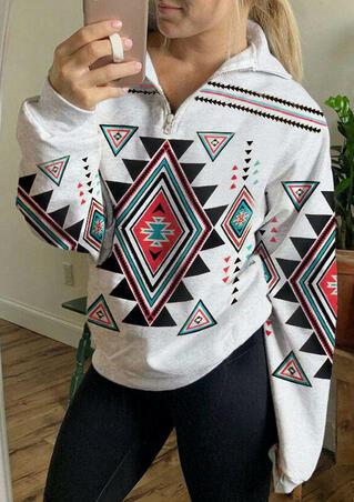 Aztec Geometric Zipper Collar Sweatshirt - Light Grey