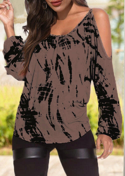 Tie Dye Ruffled Cold Shoulder Long Sleeve Blouse - Cameo Brown