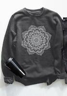 Mandala Floral O-Neck Sweatshirt