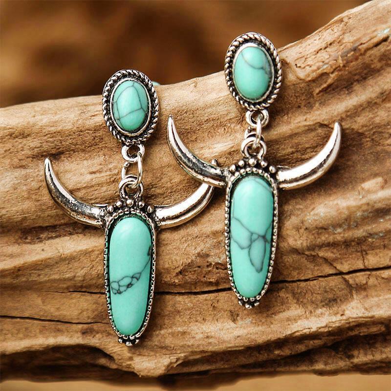 Fairyseason coupon: Creative Turquoise Horn Alloy Earrings
