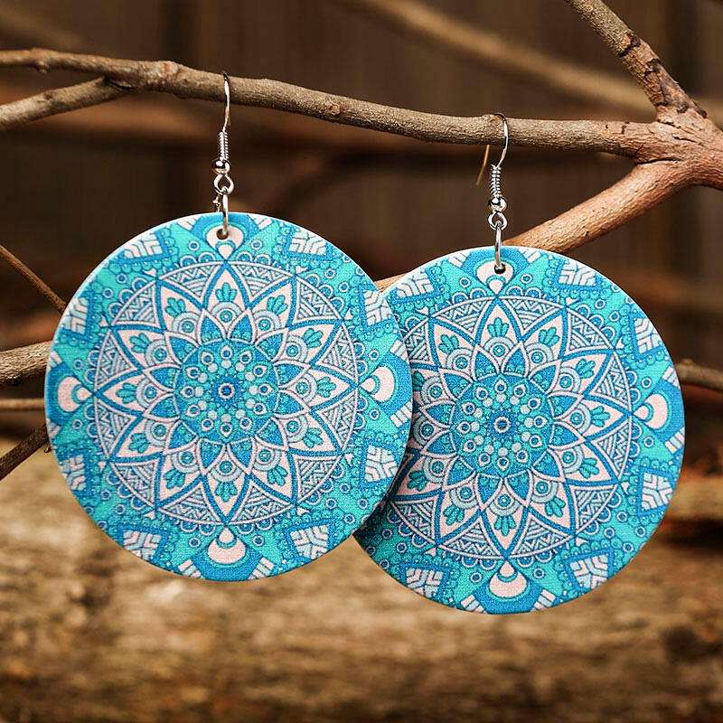 Earrings Vintage Geometric Mandala Paisley Earrings in Red,Lake Blue. Size: One Size фото